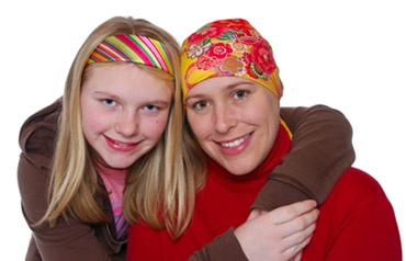 Cancer patients, people with cancer, mom and daughter