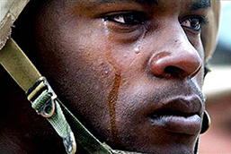 U.S. Soldier with a tear running down his cheek